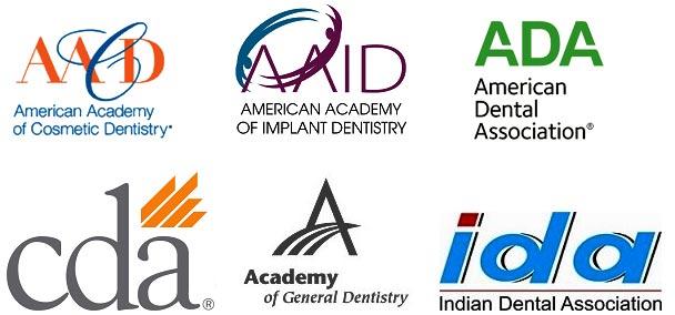 logos American Academy of Cosmetic Dentistry, American Academy of Implant Dentistry, American Dental Association, CDA, Academy of General Dentistry, Indian Dental Association