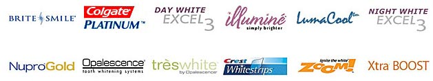 logos for brite smile, colgate platinum, day white excel3, illumine simply brighter, lumacool, night white excel3, nuprogold, olapescence, teswhite, crest whitestrips, zoom, xtra boost