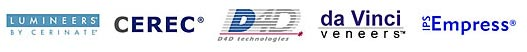 logos for lumineers by cerinate, cerec, d4d technologies, da vinci veneers, ips empress