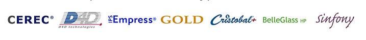 logos for cerec, d4d, ips empress, gold, cristobal, belleglass hp, sinfony