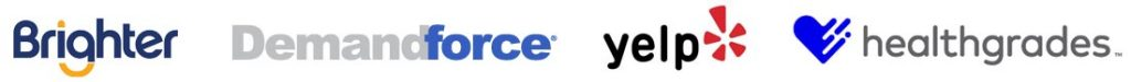 logos for brighter, demandforce, yelp, healthgrades