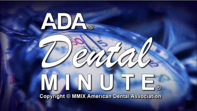 text: ada dental minute, against background showing clock click to see video