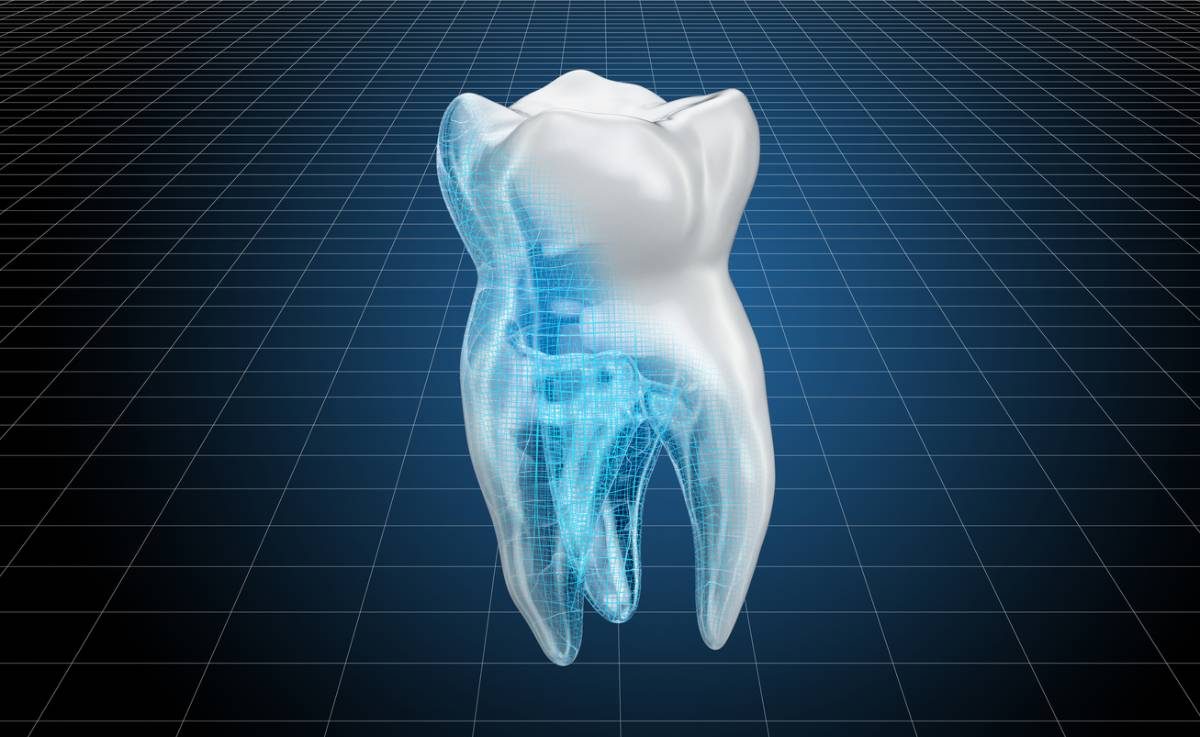 3D illustration of scan of tooth for future of dentistry.